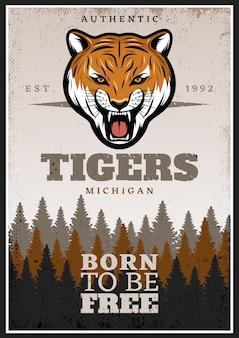 Vintage kolorowy plakat z dzikich zwierząt