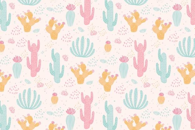 Vintage kolorowy wzór kaktusa