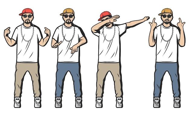 Vintage kolorowych raperów zestaw z brodatymi facetami ubranymi w stylu hip hop i pokazujący różne gesty rapu na białym tle