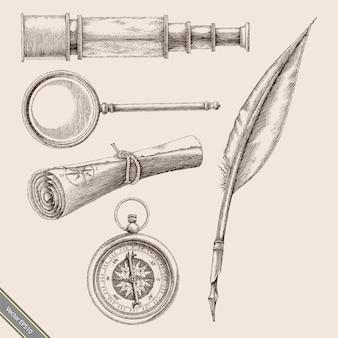 Vintage kompas, pióro pióra, szkło powiększające, lornetki i stary styl grawerowania odręcznego mapy