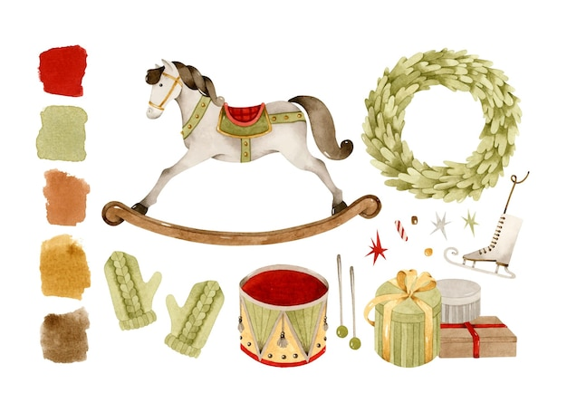 Vintage koń na biegunach i świąteczne zabawki zestaw elementów akwarela clipart