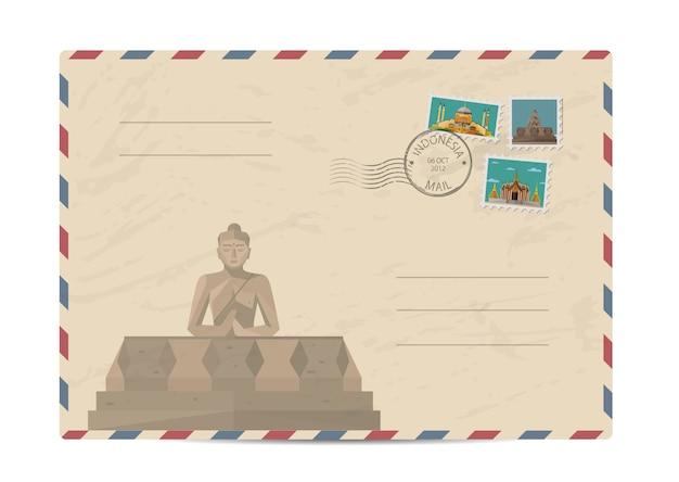 Vintage koperta pocztowa ze znaczkami