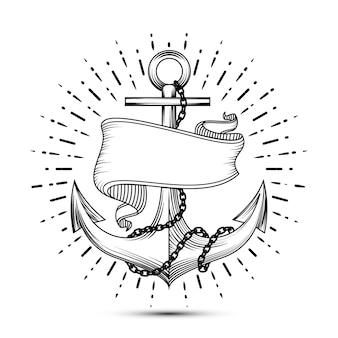 Vintage kotwica z wstążką szkic marynarz tatuaż ilustracja. kotwica morska z łańcuchem