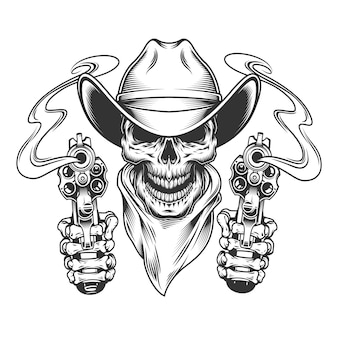 Vintage kowbojska czaszka w szaliku na szyi