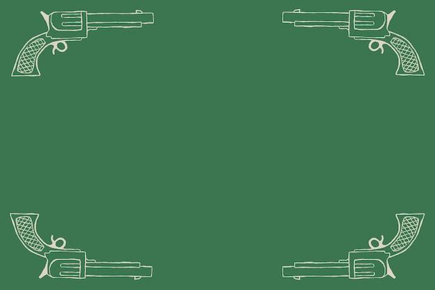 Vintage kowbojski pistolet rama wektor na zielonym tle