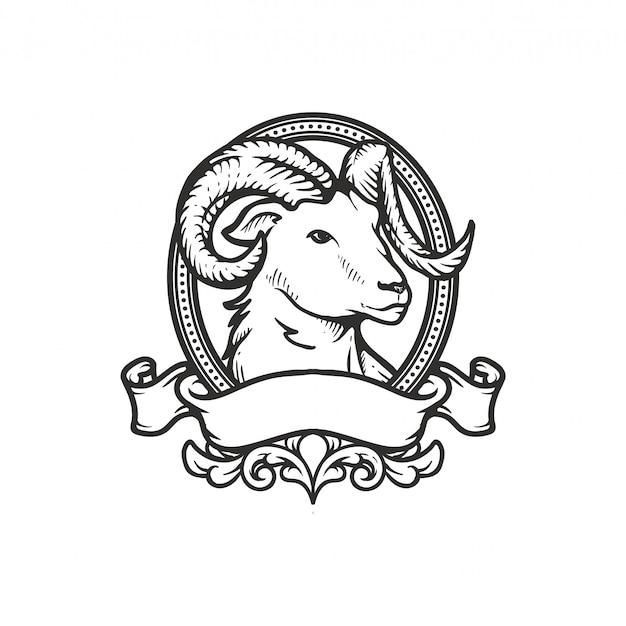 Vintage koza rysunek odrobina ramki