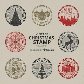 Vintage krążyła kolaż christmas stempli
