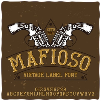 Vintage krój alfabetu i godła o nazwie mafioso.