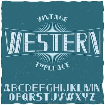 Vintage krój etykiety o nazwie western z alfabetu na niebieskiej ilustracji