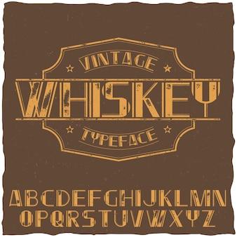 Vintage krój etykiety o nazwie whiskey na brązowej ilustracji
