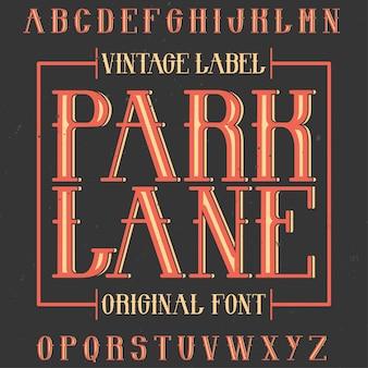 Vintage krój etykiety