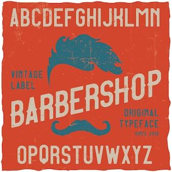 Vintage krój o nazwie barbershop. dobra czcionka do wykorzystania w każdym logo vintage.