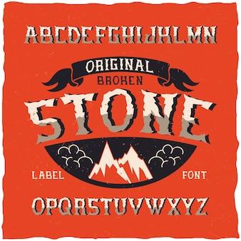 Vintage krój o nazwie stone. dobra czcionka do użycia w wszelkich starych etykietach lub logo.