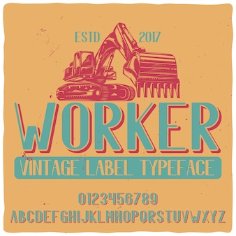 """Vintage krój pisma o nazwie """"pracownik"""" z ilustracją ciągnika."""