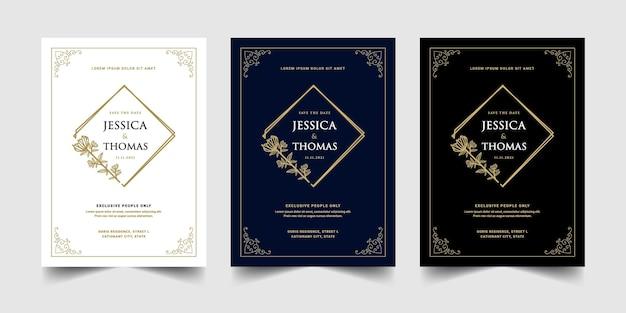 Vintage królewski i luksusowy zestaw szablonu karty zaproszenie