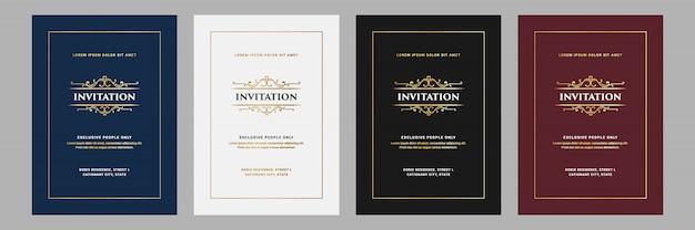 Vintage królewski i luksusowy zestaw zaproszenia na rocznicę ślubu przyjęcie urodzinowe szablon karty
