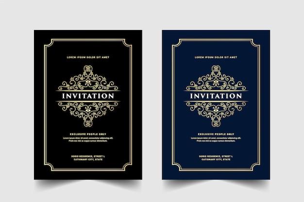 Vintage królewski i luksusowy zestaw zaproszenia na rocznicę ślubu urodziny uroczystość kwiatowy wir ozdobny ozdobny szablon karty