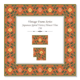 Vintage kwadratowa ramka 3d japoński wir spiralny kwiat winorośli, styl retro.
