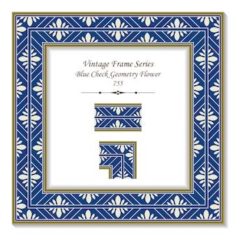 Vintage kwadratowa ramka 3d niebieski sprawdź geometrię wielokąt krzyż kwiat, styl retro.