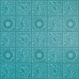 Vintage kwadratowy wzór kwiatowy turkusowy
