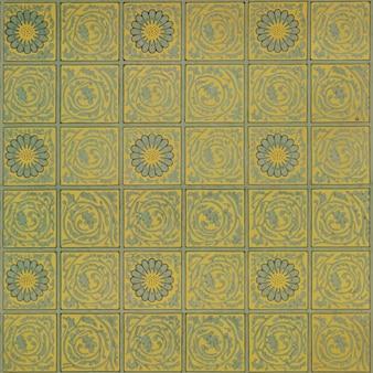 Vintage kwadratowy żółty wzór kwiatowy