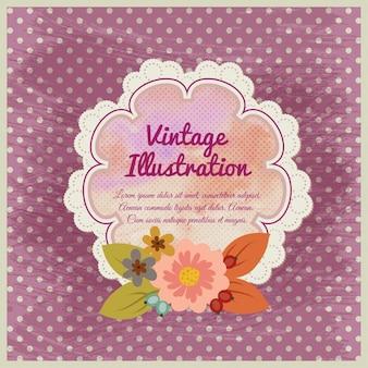 Vintage kwiat ilustracji z odznaką