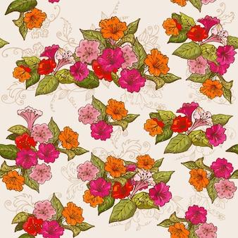 Vintage kwiatowy bezszwowe tło