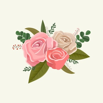 Vintage kwiatowy bukiet róż