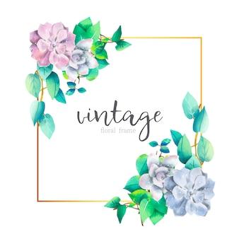 Vintage kwiatowy bukiety z złotej ramie