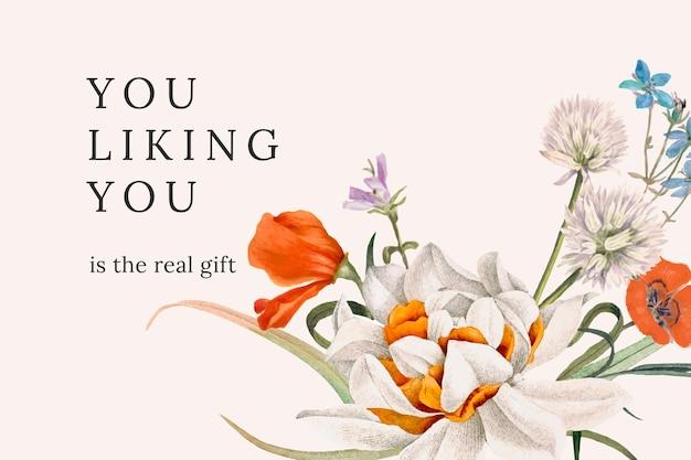 Vintage kwiatowy cytat szablon ilustracji wektorowych, zremiksowany z dzieł sztuki w domenie publicznej