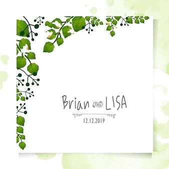 Vintage kwiatowy karta ślub w stylu przypominającym akwarele.