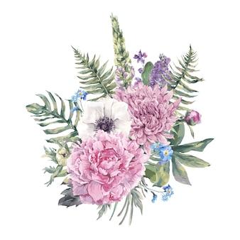 Vintage kwiatowy kartkę z życzeniami z zawilce