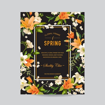 Vintage kwiatowy kolorowe ramki - kwiaty lilii akwarela - na zaproszenie, ślub, karta baby shower