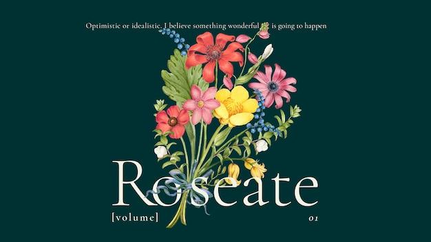 Vintage kwiatowy kolorowy szablon wektor dla banera na blogu