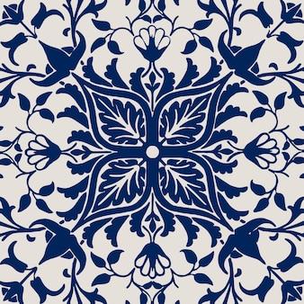 Vintage kwiatowy ornament bezszwowe niebieskie tło wzór