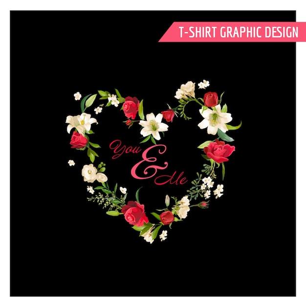 Vintage kwiatowy projekt graficzny. letnia róża i kwiaty lilii na koszulkę, moda