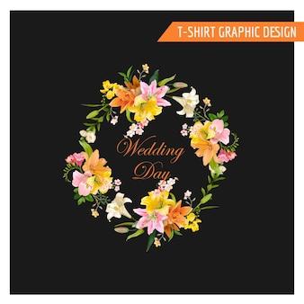 Vintage kwiatowy projekt graficzny