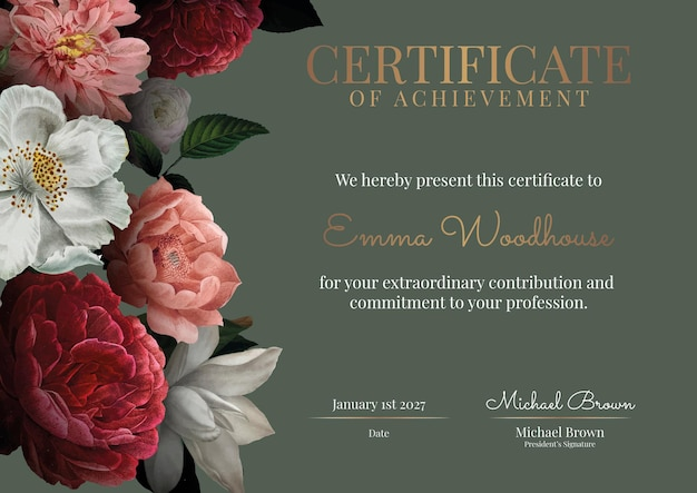 Vintage kwiatowy szablon certyfikatu w luksusowym stylu