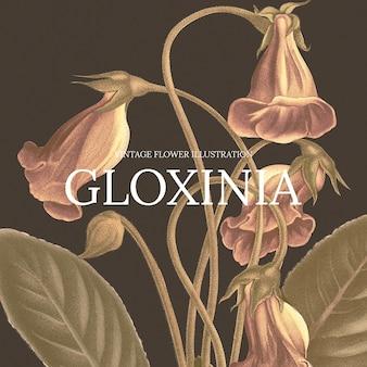 Vintage kwiatowy szablon ilustracji z tłem gloksynia, zremiksowany z dzieł z domeny publicznej