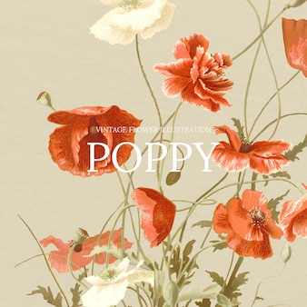 Vintage kwiatowy szablon z makowym tłem, zremiksowany z dzieł z domeny publicznej