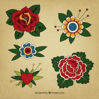 Vintage kwiatowy tatuaże