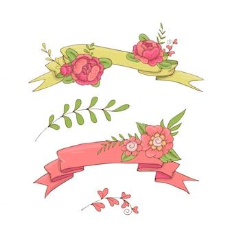Vintage kwiatowy wstążki.
