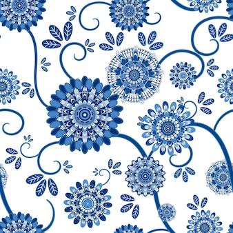 Vintage kwiatowy wzór na białym tle
