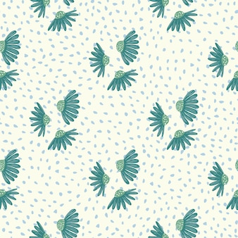 Vintage kwiatowy wzór z niebieskim ornamentem kwiatów rumianku