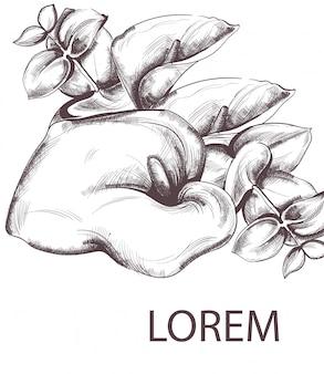 Vintage kwiaty i grafika liniowa