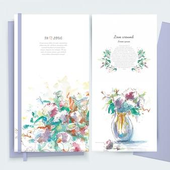 Vintage kwiaty kwiatowy kartkę z życzeniami ramki w stylu przypominającym akwarele.