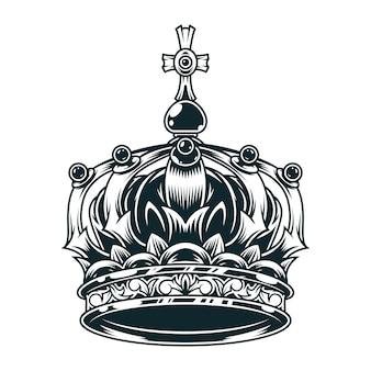 Vintage kwiecisty koncepcja korony królewskiej