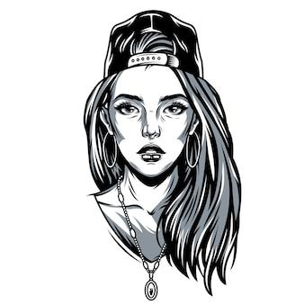 Vintage ładna dziewczyna w czapce baseballowej