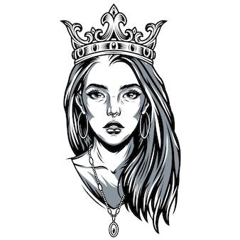 Vintage ładna dziewczyna w ozdobną koronę