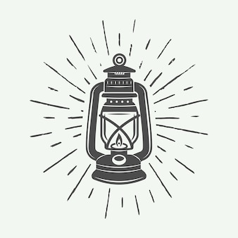 Vintage lampa i oświetlenie logo, godło, odznaka i elementy projektu.ilustracja wektorowa